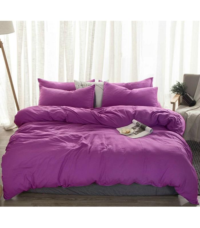 Комплект постельного белья Сливовый №910 ᗍ Лен ※ Украина, натуральная ткань