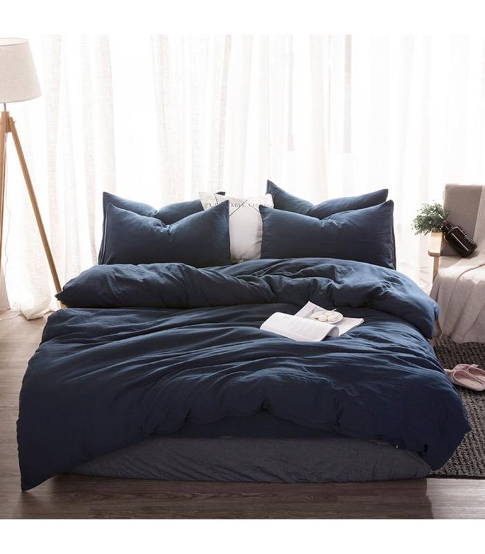 Комплект постільної білизни Синій №999 ᗍ льон ※ Україна, натуральна тканина