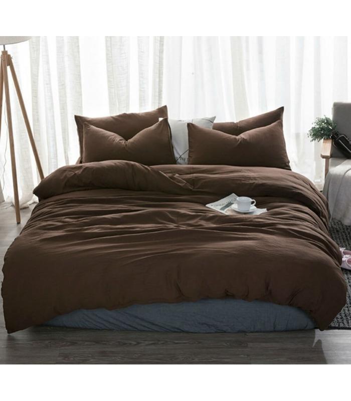 Комплект постельного белья Темный шоколад №1397 ᗍ Лен ※ Украина, натуральная ткань