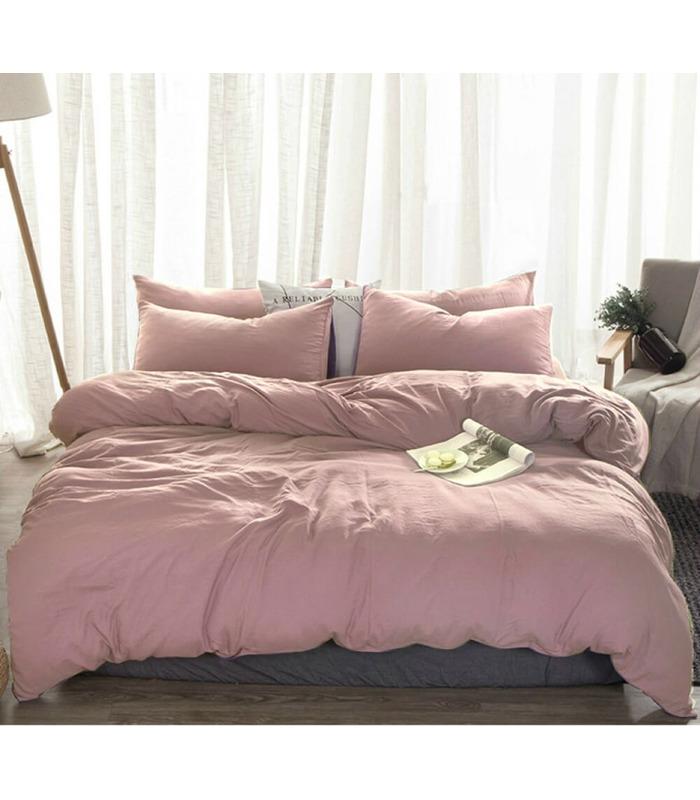 Комплект постельного белья Пудровый №561 ᗍ Лен ※ Украина, натуральная ткань
