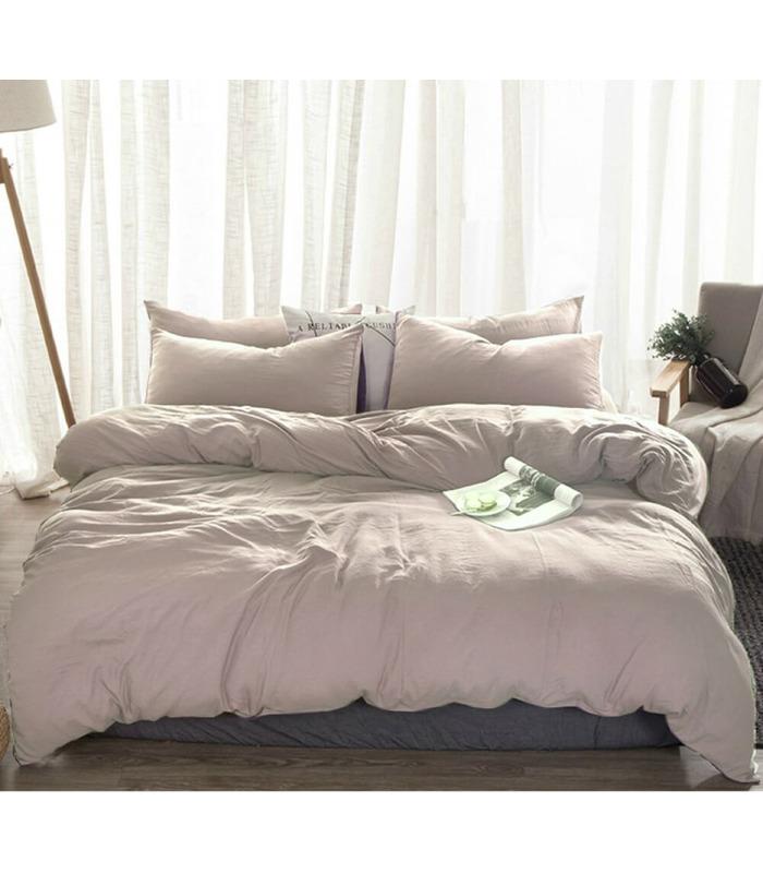 Комплект постільної білизни Попелясто рожевий №320 ᗍ льон ※ Україна, натуральна тканина
