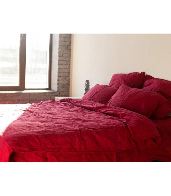Комплект постельного белья Бордо №511 ᗍ Лен ※ Украина, натуральная ткань