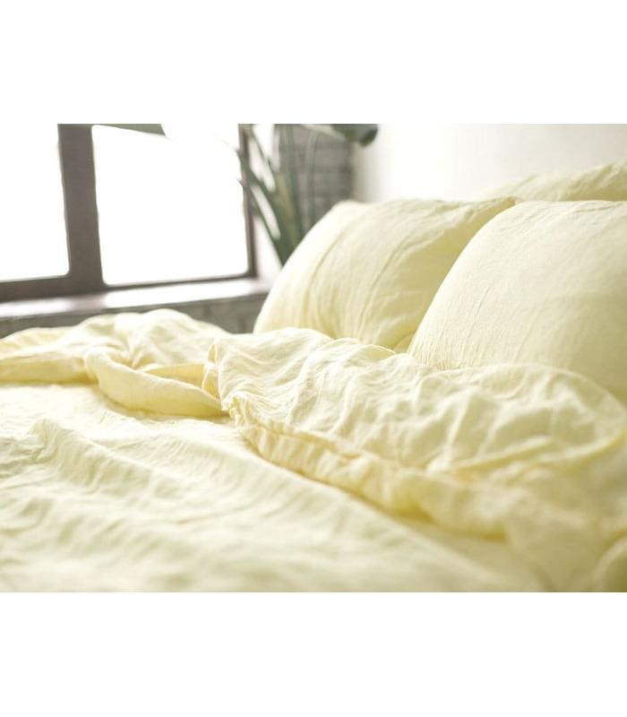 Комплект постельного белья Ванильный шампань №1403 ᗍ Лен ※ Украина, натуральная ткань
