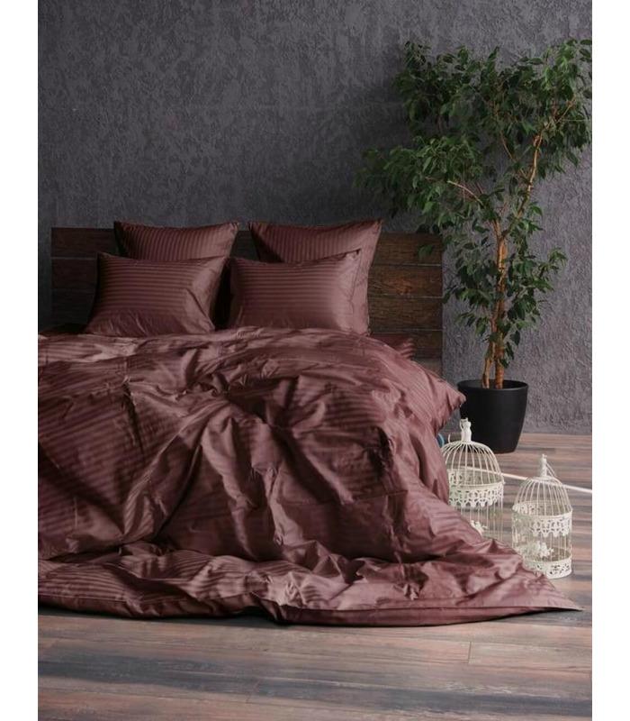"""Комплект постельного белья """"Chocolate"""" Сатин Stripe из 100% хлопка, полоса 1/1 см"""