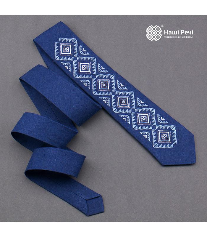 Краватка ᐉ Вишита краватка синього кольору 929, з натурального льону ※ Україна