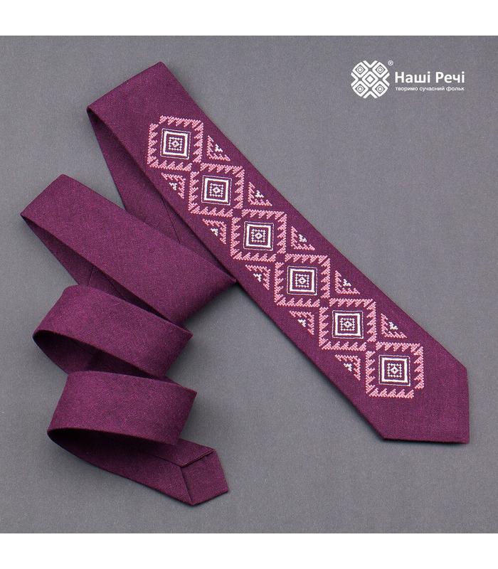 Галстук ᐉ Вышитый галстук бордового цвета 930, натуральный лен ※ Украина