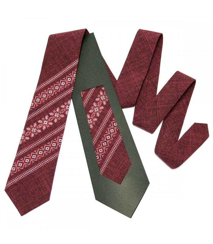Галстук ᐉ Вышитый галстук бордового цвета 664, костюмная ткань ※ Украина