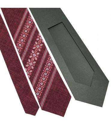 Краватка ᐉ Вишита краватка бордового кольору 664, костюмна тканина ※ Україна