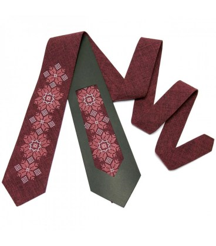 Краватка ᐉ Вишита краватка бордового кольору 667, костюмна тканина ※ Україна
