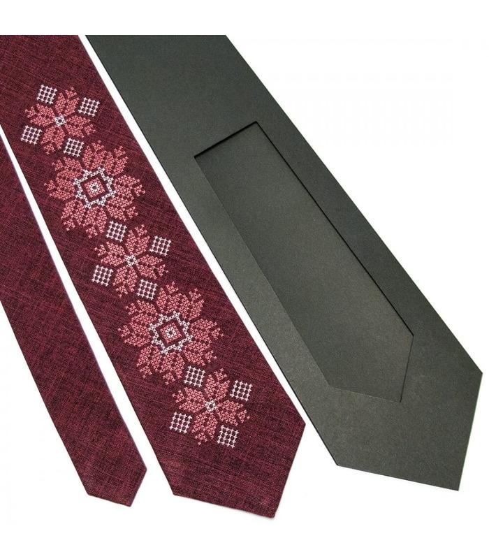Галстук ᐉ Вышитый галстук бордового цвета 667, костюмная ткань ※ Украина