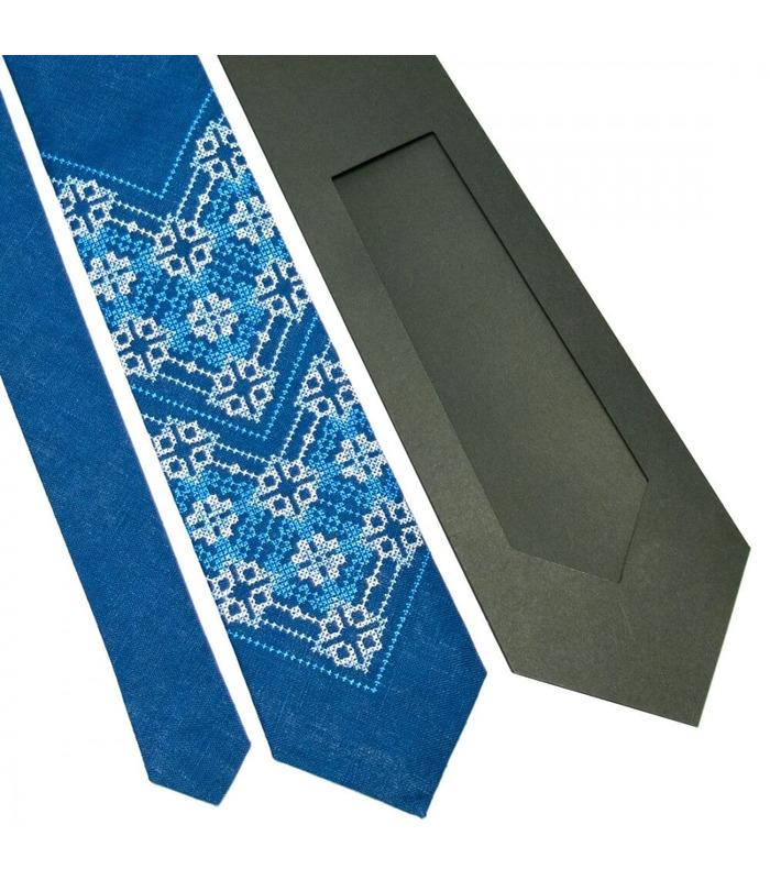 Краватка ᐉ Вишита краватка синього кольору 676, натуральний льон ※ Україна
