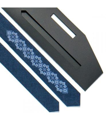 Краватка ᐉ Вишита краватка синього кольору 720, костюмна тканина ※ Україна