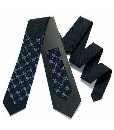 Краватка ᐉ Вишита краватка темно-синього кольору 721, костюмна тканина ※ Україна