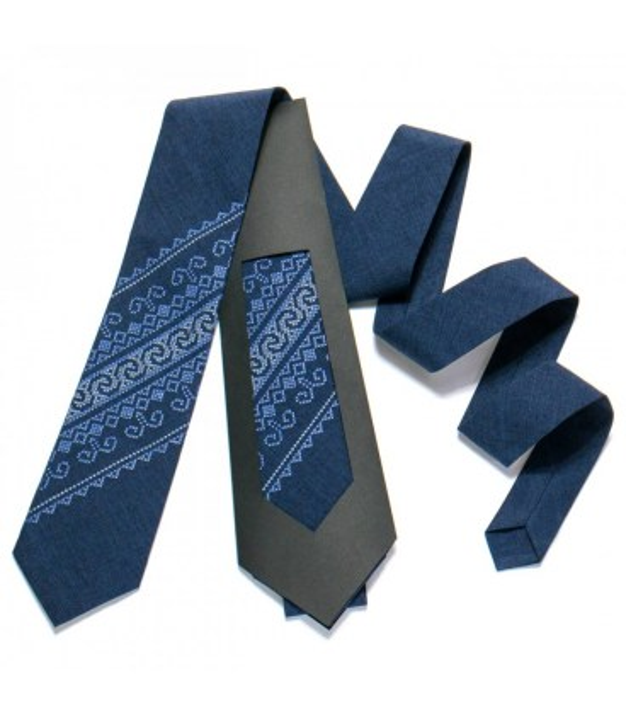 Галстук ᐉ Вышитый галстук синего цвета 722, костюмная ткань ※ Украина