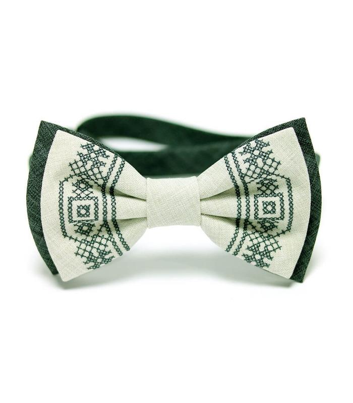 Мужская вышитая бабочка 635 из костюмной ткани ᐉ Темно и светло зеленого цвета ※ Украина