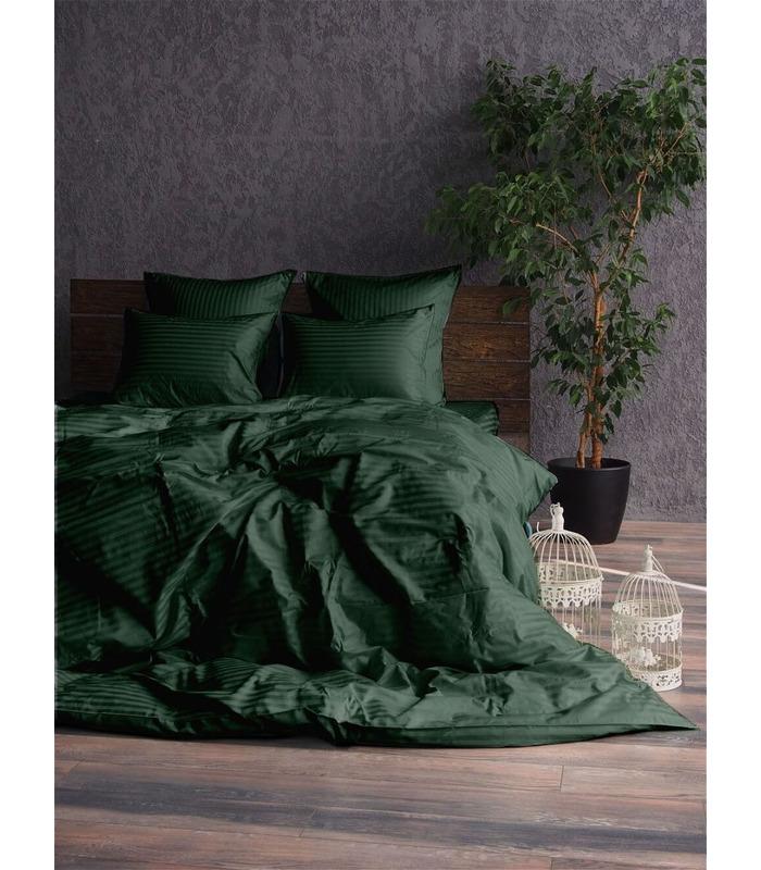 """Комплект постільної білизни """"Green"""" Сатин Stripe зі 100% бавовни, смуга 1/1 см"""