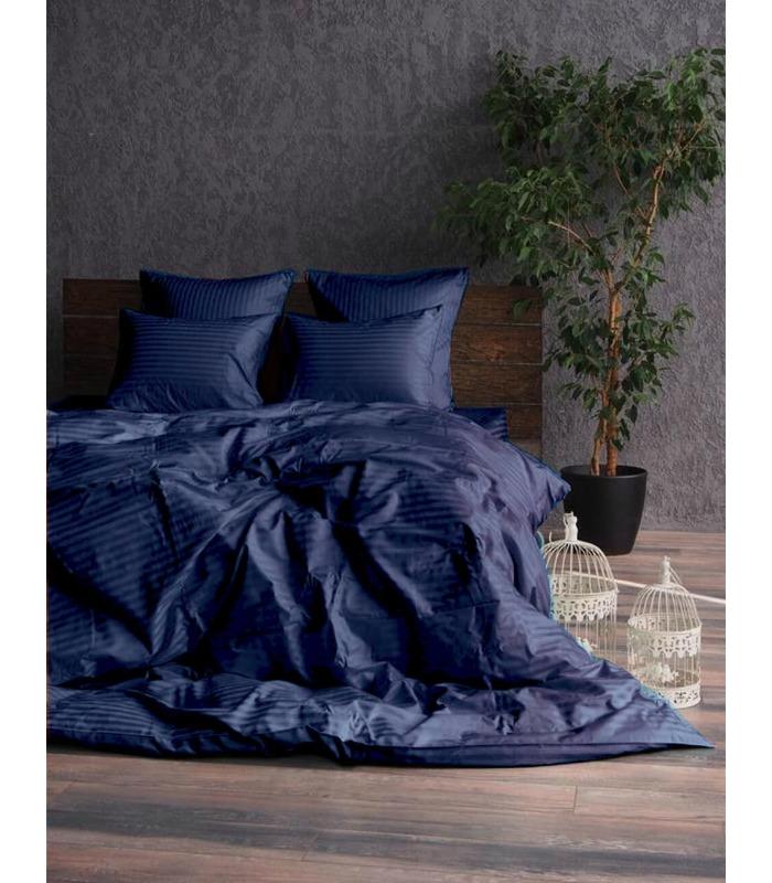 """Комплект постільної білизни """"Dark Blue"""" Сатин Stripe зі 100% бавовни, смуга 1/1 см"""