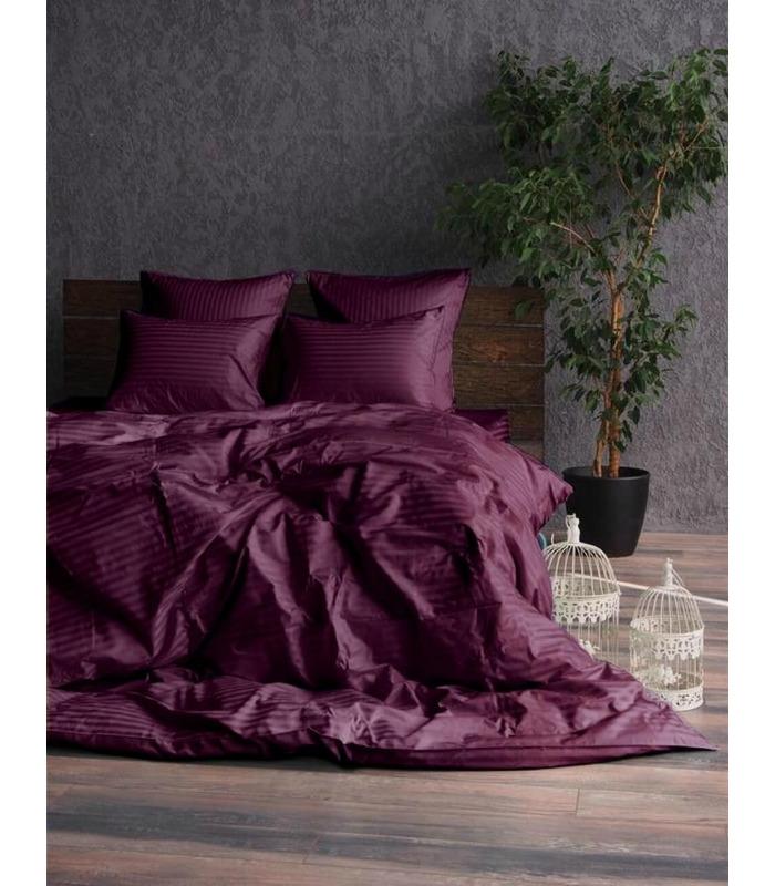 """Комплект постельного белья """"Plum"""" Сатин Stripe из 100% хлопка, полоса 1/1 см"""