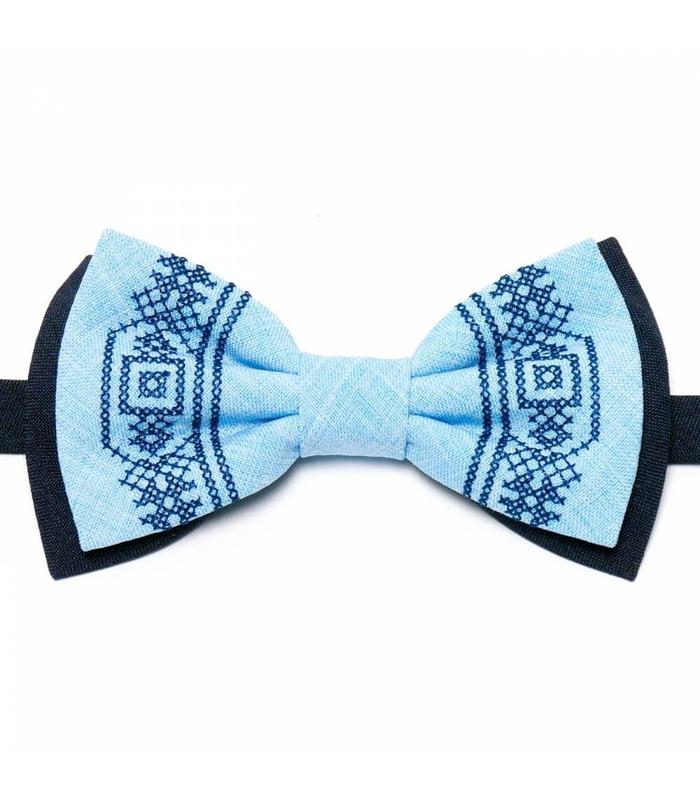 Мужская вышитая бабочка 634 из костюмной ткани ᐉ Темного синего и голубого цвета ※ Украина