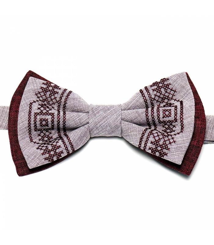 Мужская вышитая бабочка 633 из костюмной ткани ᐉ Бордового и бледно-розового цвета ※ Украина