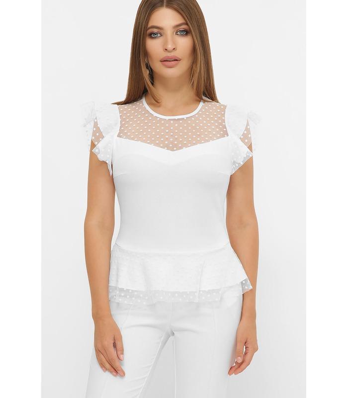 Блуза Лайза WH, белая блуза с баской