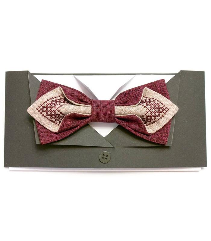 Мужская вышитая бабочка 603 из костюмной ткани ᐉ Бордового и бежевого цвета ※ Украина