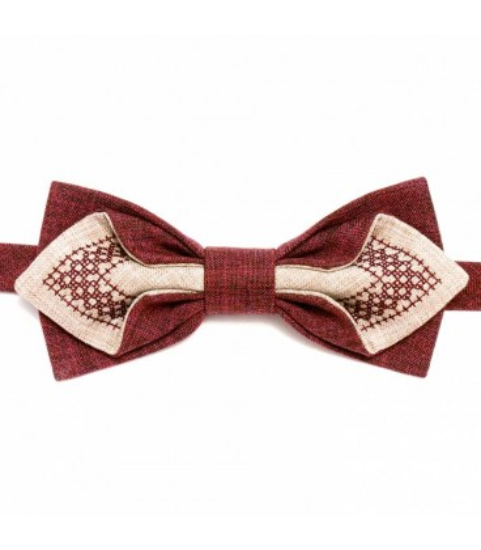 Чоловічий вишитий метелик 603 ᐉ Вишитий з комбінації костюмної тканини ※ Україна