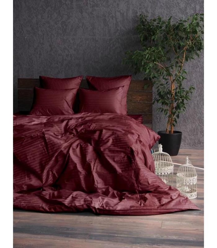 """Комплект постельного белья """"Bordo"""" Сатин Stripe из 100% хлопка, полоса 1/1 см"""