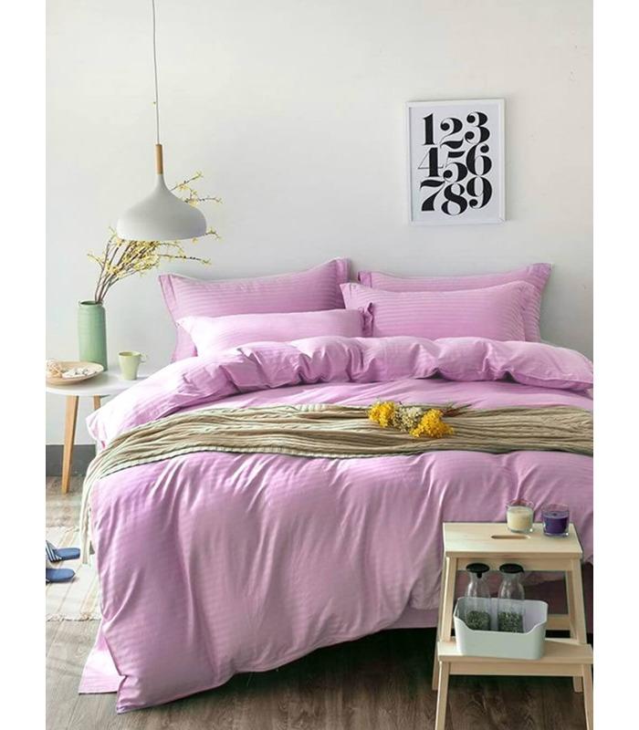 """Комплект постільної білизни """"Pink Rose"""" Сатин Stripe зі 100% бавовни, смуга 1/1 см"""