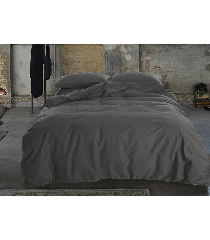 Комплект постільної білизни Dark Grey №240 ᗍ сатин ※ Україна, натуральна тканина