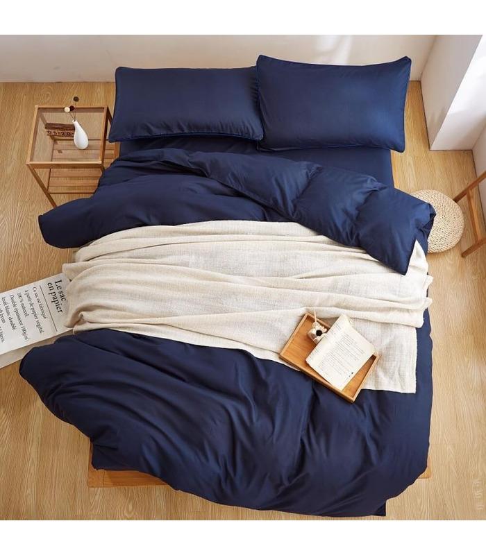 Комплект постільної білизни Classic Blue №4052 ᗍ сатин ※ Україна, натуральна тканина