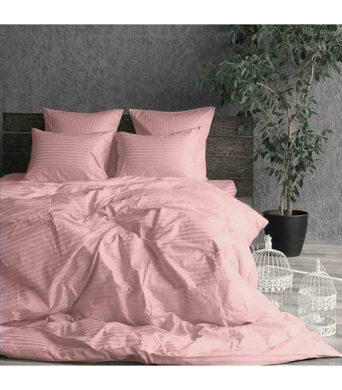 """Комплект постільної білизни """"Light Pink"""" Сатин Stripe зі 100% бавовни, смуга 1/1 см"""