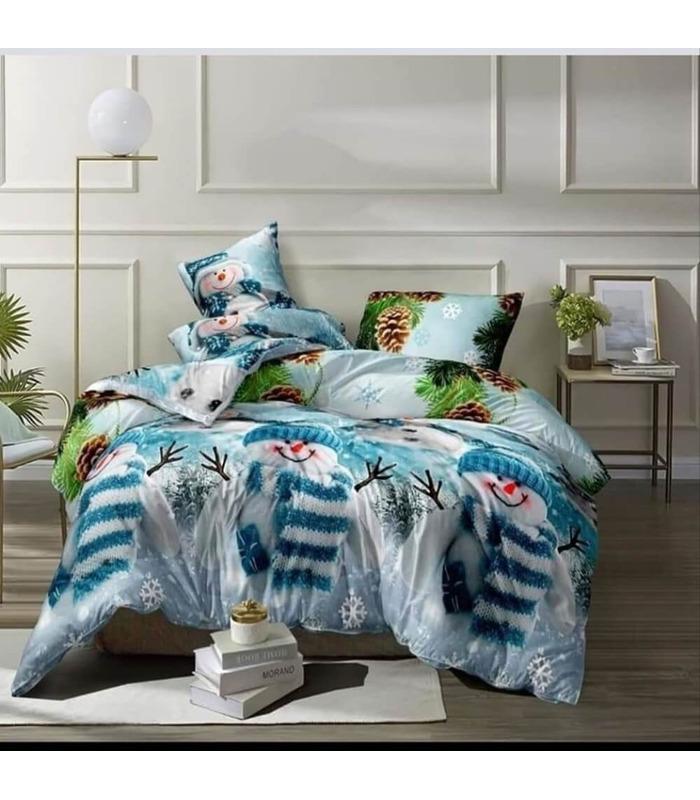 Комплект постельного белья Снеговики ᗍ сатин ※ Украина, натуральная ткань