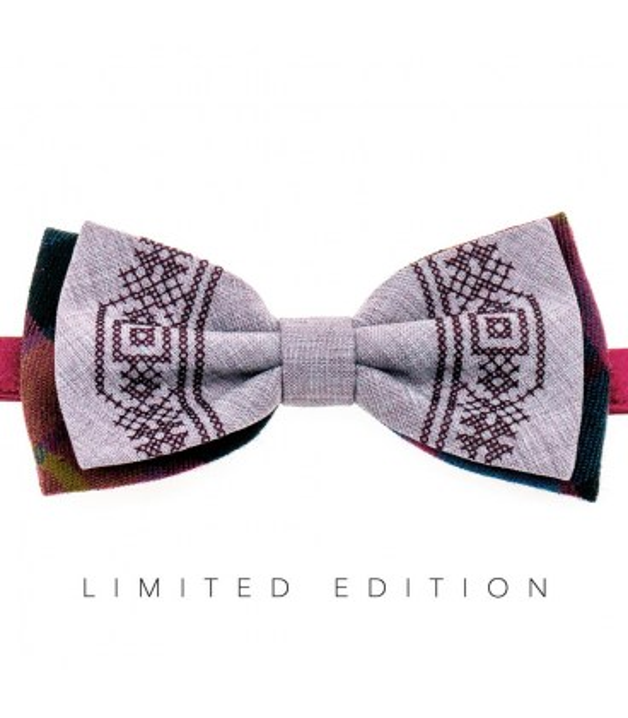 Мужская вышитая бабочка 942 Limited Edition из костюмной ткани ᐉ Серого и розового цвета ※ Украина