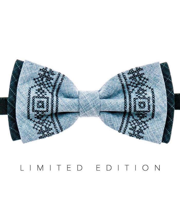 Мужская вышитая бабочка 943 Limited Edition из костюмной ткани ᐉ Светло-серого цвета ※ Украина