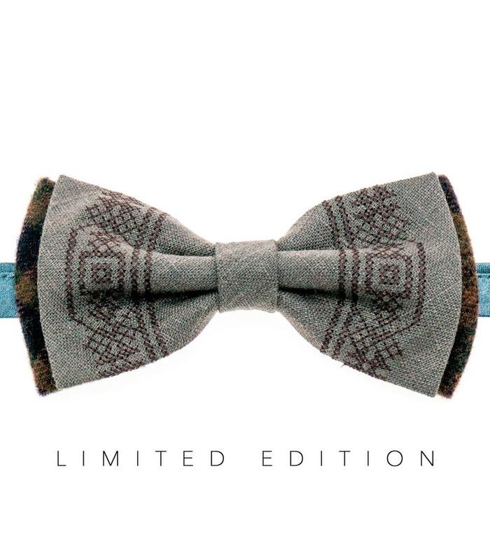 Мужская вышитая бабочка 944 Limited Edition из костюмной ткани ᐉ Светло-коричневого цвета ※ Украина