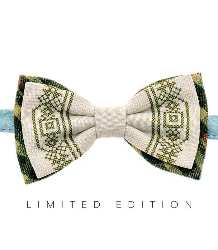 Мужская вышитая бабочка 947 Limited Edition из костюмной ткани ᐉ Светло-бежевого цвета ※ Украина