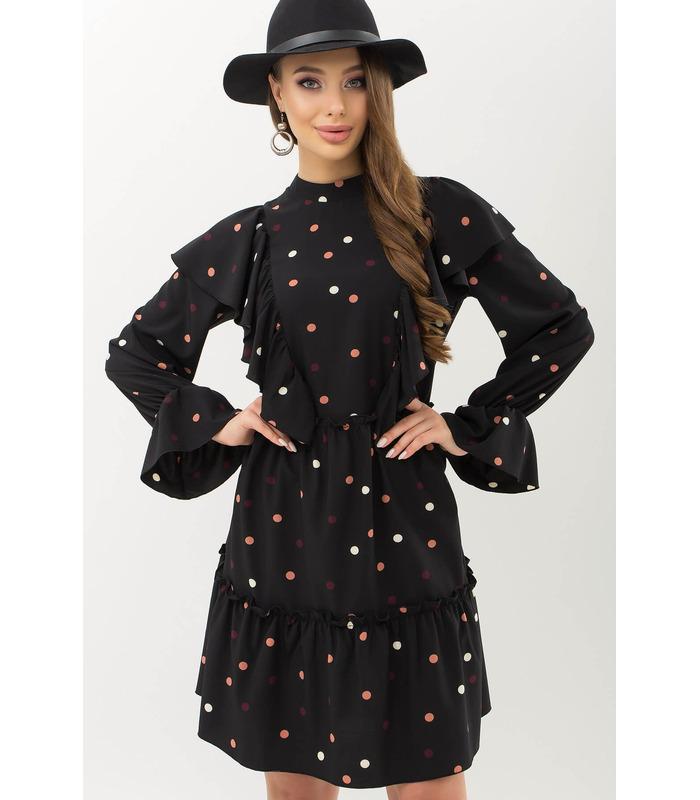 Платье Лесса CH, платье с воланами в горох