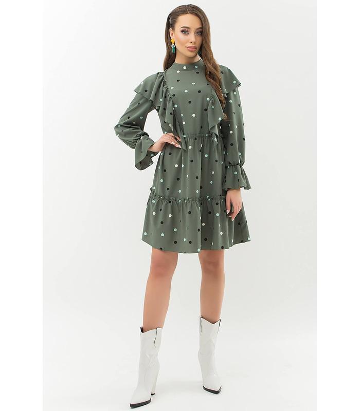 Платье Лесса KH, платье хаки в горох