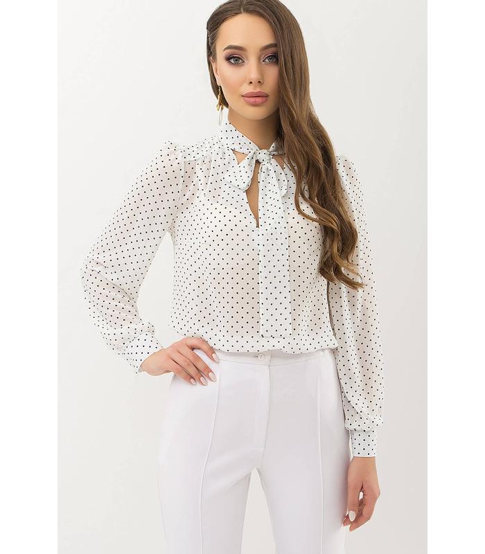 Блуза Аза WH, белая блузка в горох