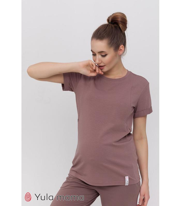 Футболка Меган CA, коричневая футболка беременным и кормящим