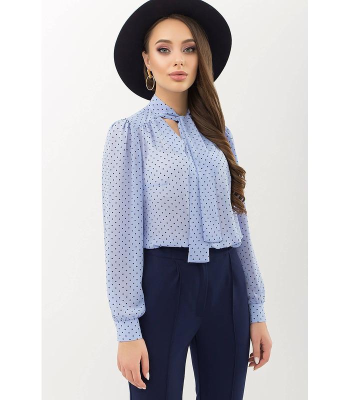 Блуза Аза BB, голубая блуза в горох