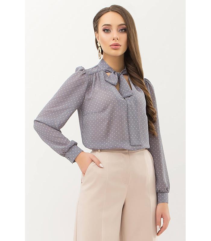 Блуза Аза GR, серая блузка в горошек