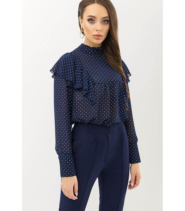 Блуза Вета TS, синяя блузка в горошек