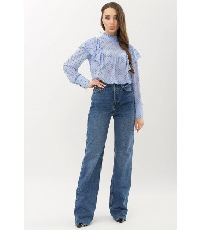 Блуза Вета BB, блуза голубого цвета в горошек