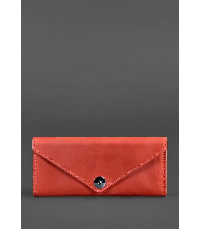 Кожаный кошелек 1.0 Коралл ᐉ Женский кошелек из натуральной кожи на МамаТато