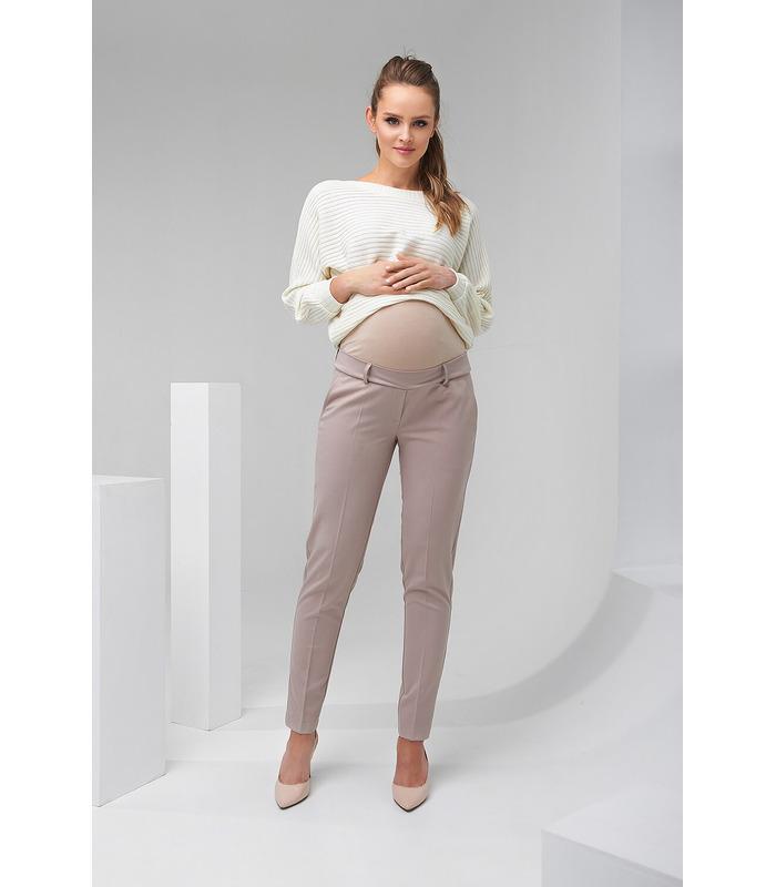 Штани Леона, бежеві брюки зі стрілками вагітним