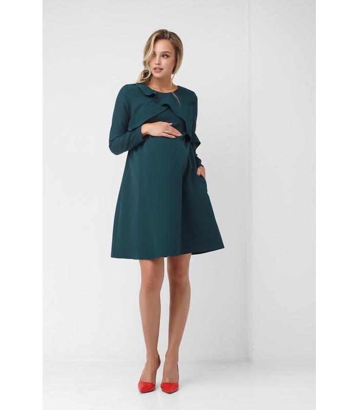 Сукня Грета GR, нарядне зелене плаття з оланами вагітним та годуючим