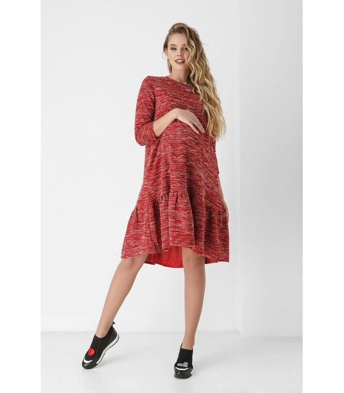 Платье Клара, красное трикотажное платье для беременных и кормящих