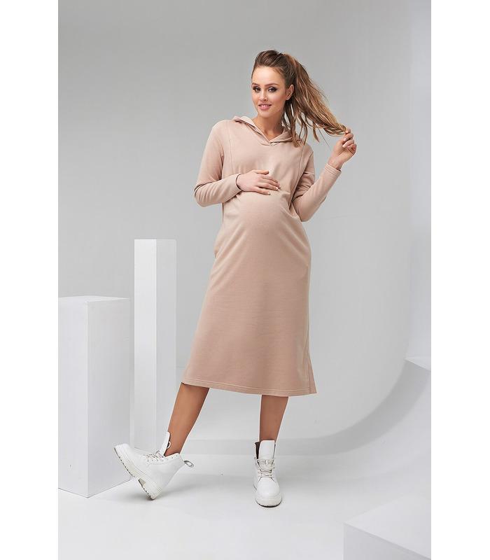 Сукня Норма, бежеве плаття з капюшоном вагітним та годуючим